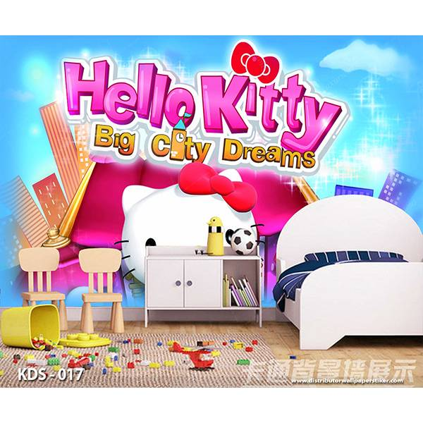 3D Custom Wallpaper Dinding | Motif Helo Kitty - KDS - 0170