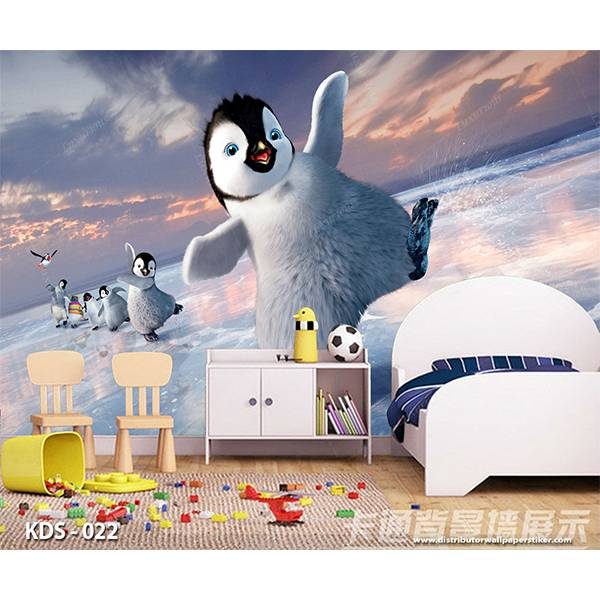 3D Custom Wallpaper Dinding | Motif Pinguin - KDS - 0220