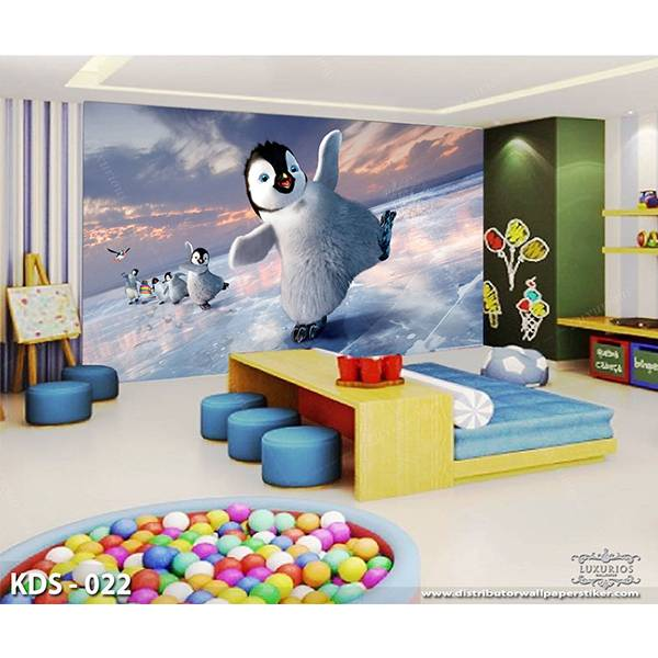 3D Custom Wallpaper Dinding | Motif Pinguin - KDS - 0221