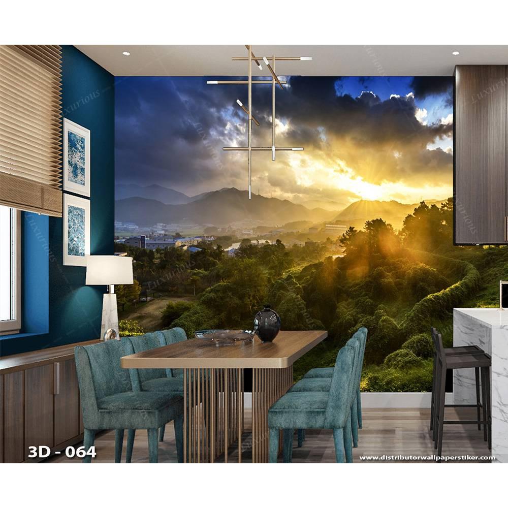 3D Wallpaper Custom Dinding | Pemandangan Alam Bukit - NTR - 0302