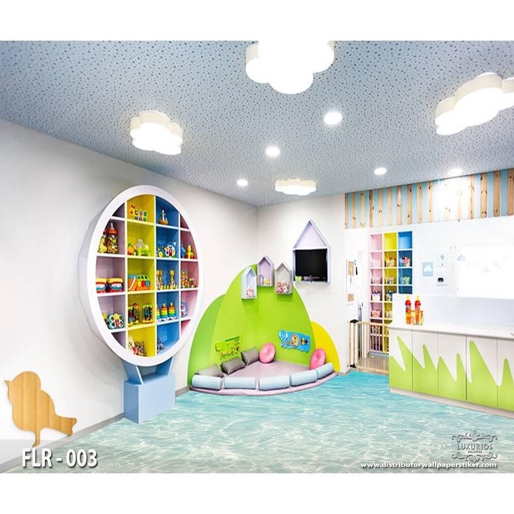 3D Wallpaper Custom Lantai | Motif pantai - FLR - 0030