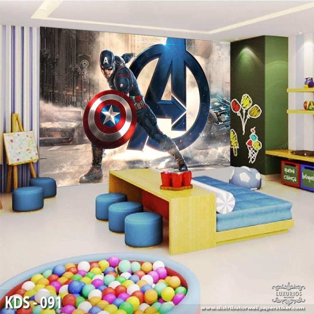 3D Custom Wallpaper Dinding - Motif Captain America   KDS - 0910