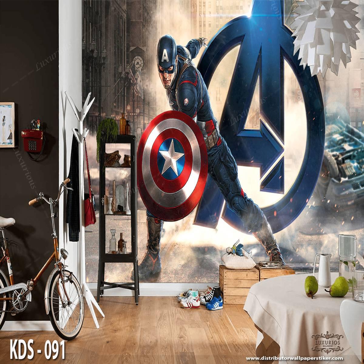 3D Custom Wallpaper Dinding - Motif Captain America   KDS - 0911
