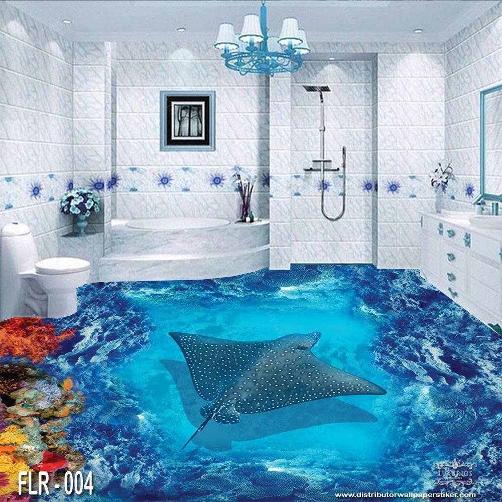 3D Custom Wallpaper Lantai - Motif ikan pari | FLR - 0040