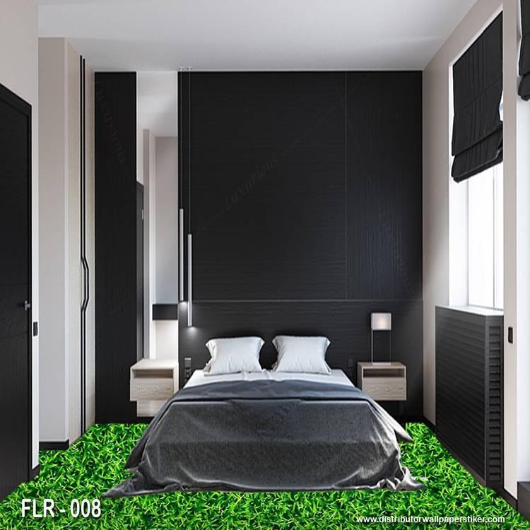 3D Custom Wallpaper Lantai - Motif rumput    FLR - 0081