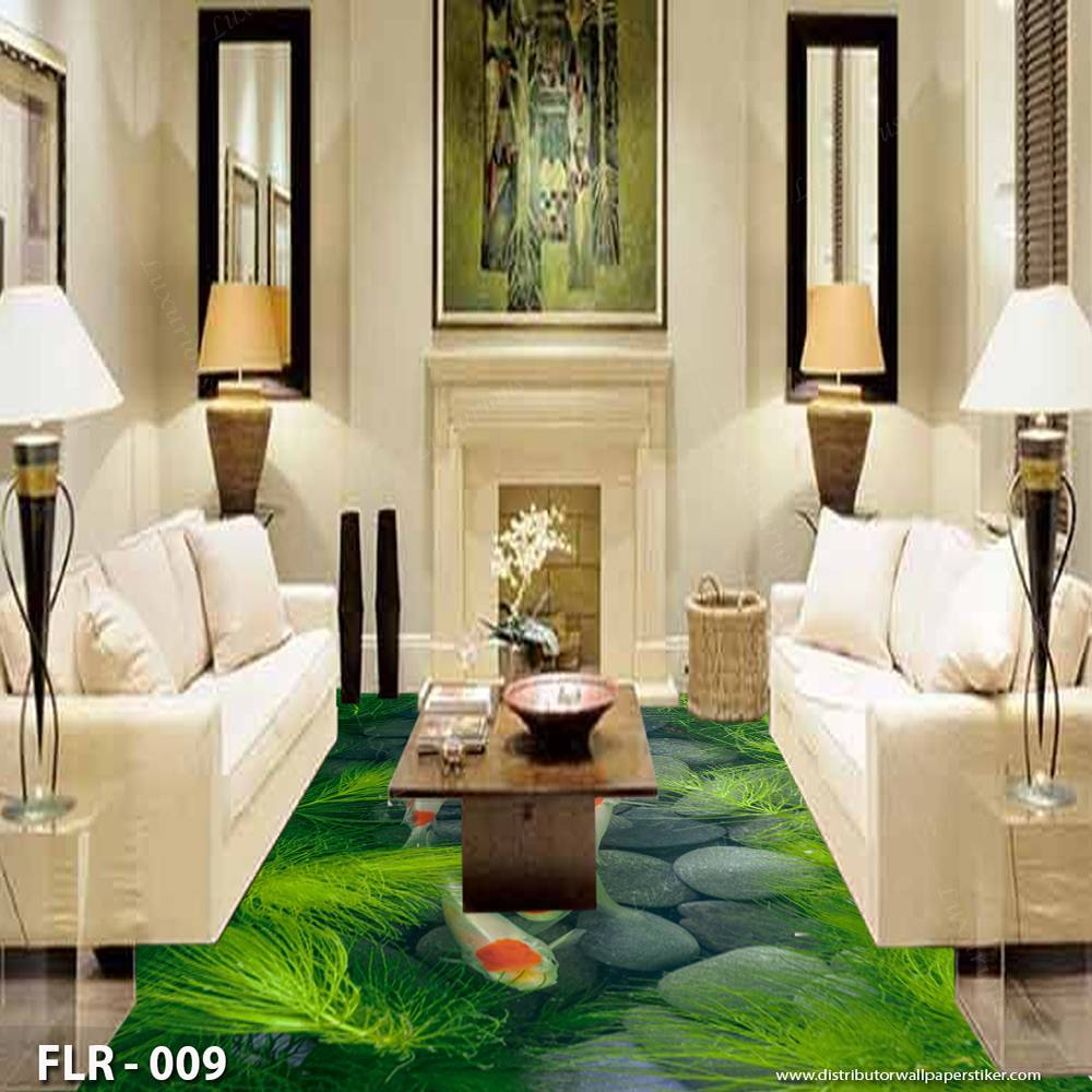 3D Custom Wallpaper Lantai - Motif ikan | FLR - 0090