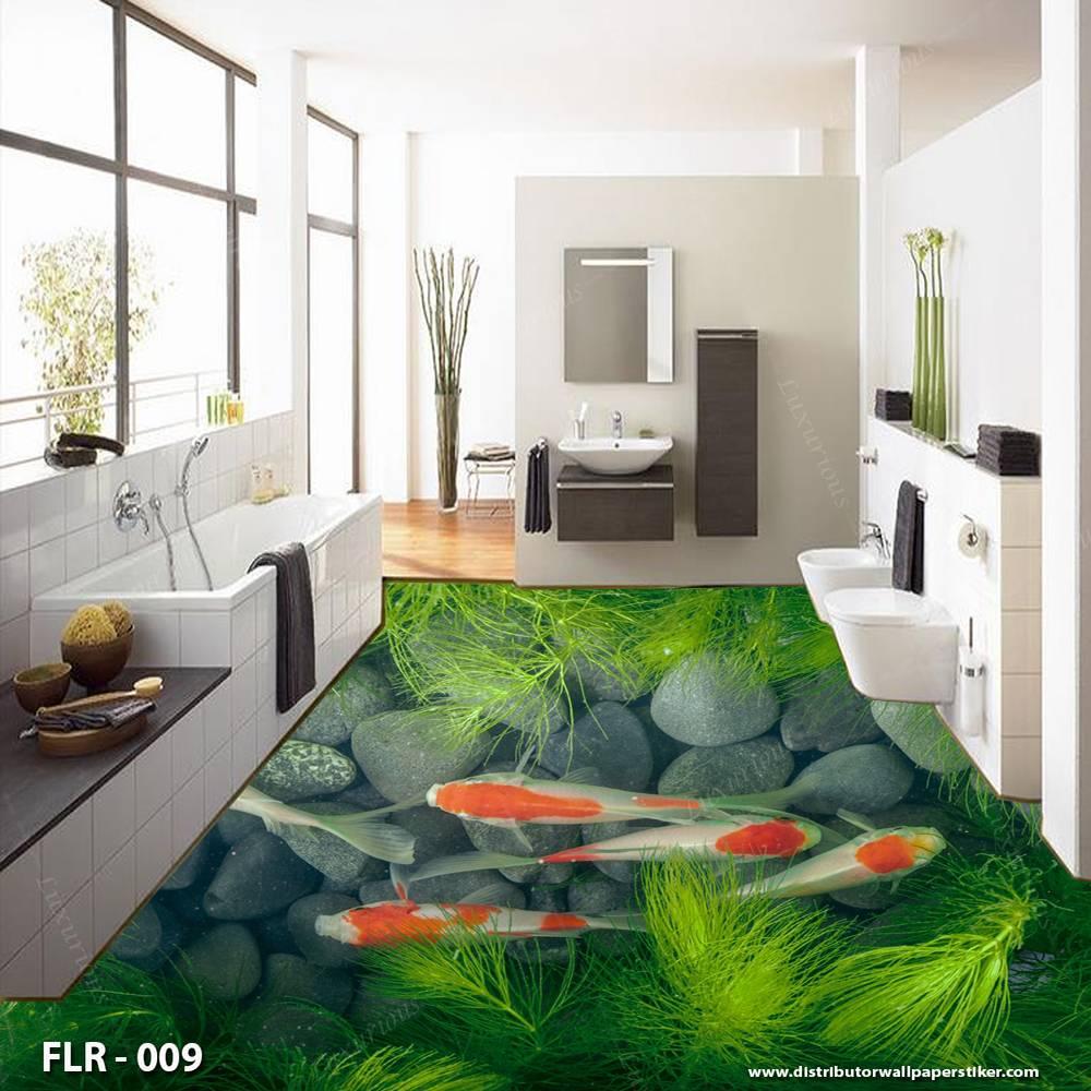 3D Custom Wallpaper Lantai - Motif ikan | FLR - 0091