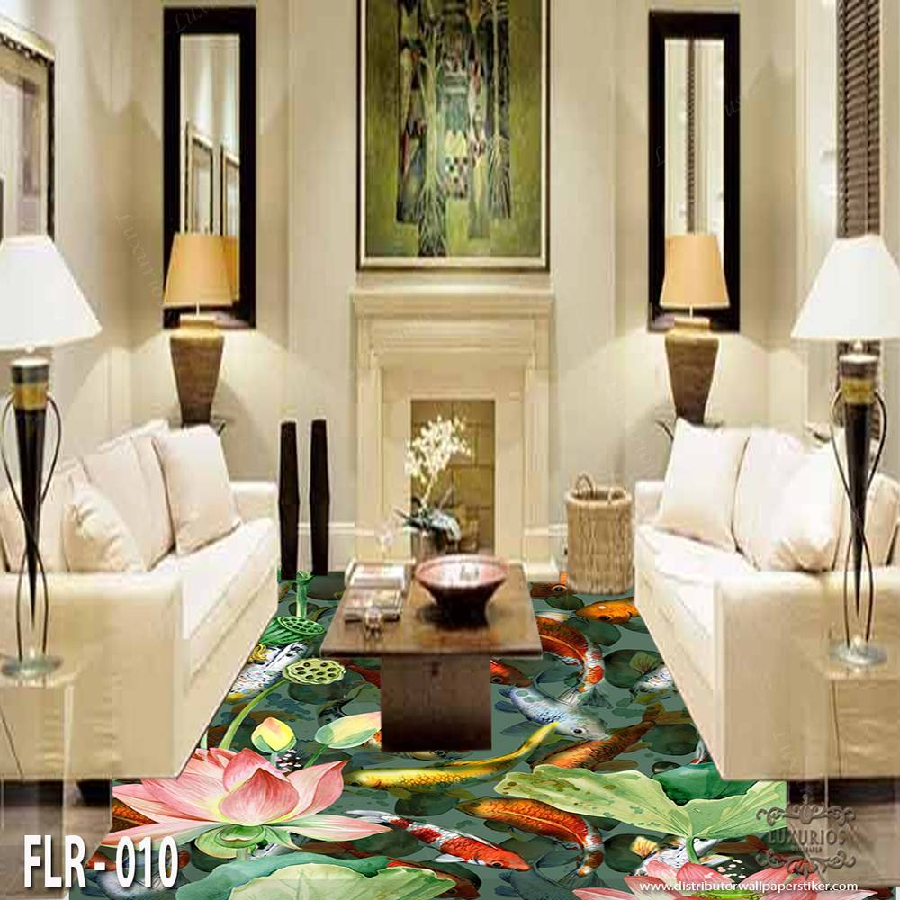 3D Custom Wallpaper Lantai - Motif ikan | FLR - 0100