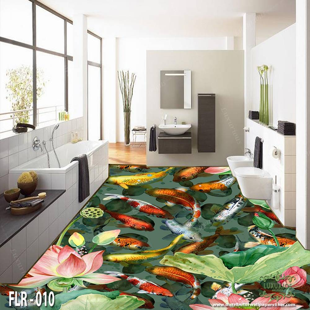 3D Custom Wallpaper Lantai - Motif ikan | FLR - 0101