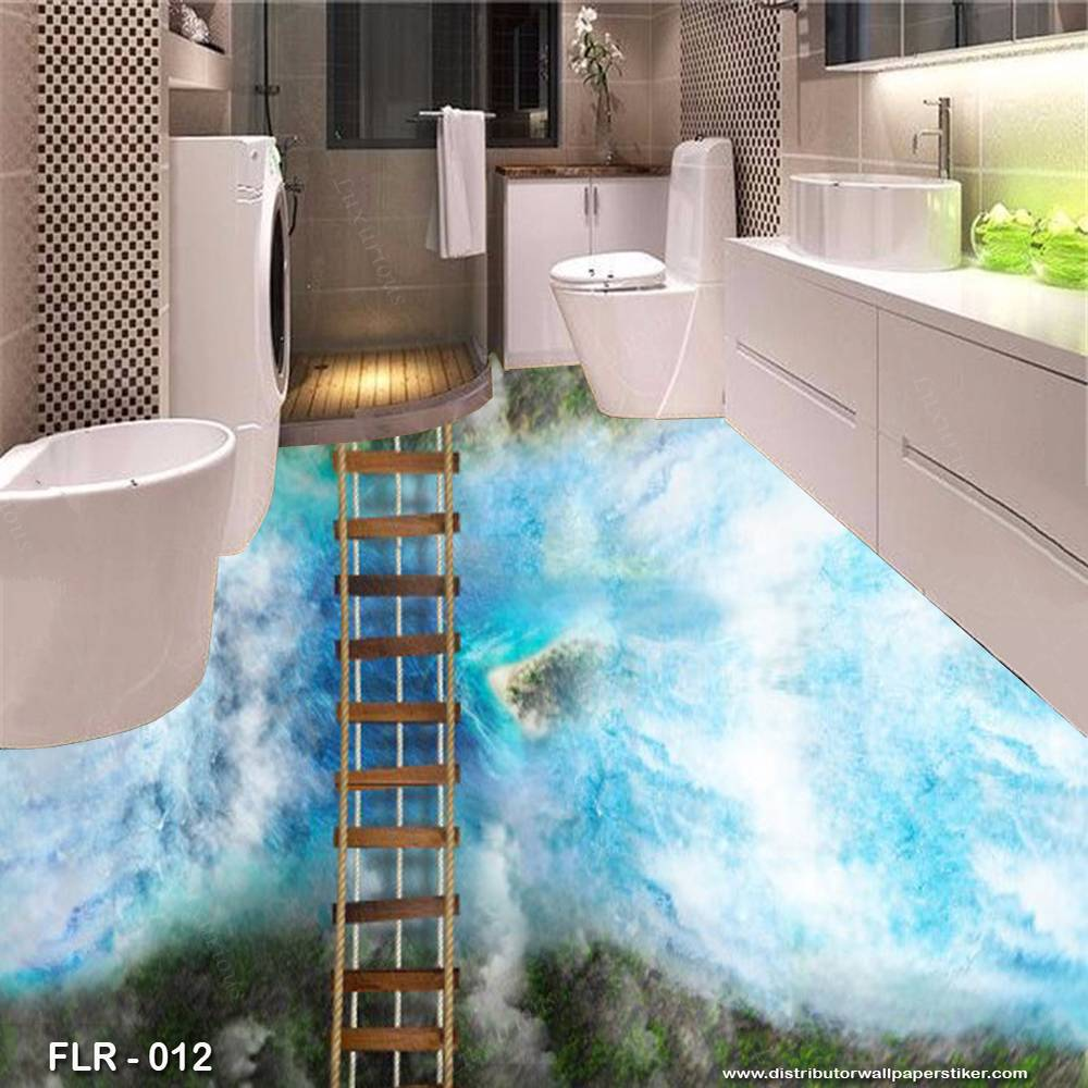 3D Custom Wallpaper Lantai - Motif Jembatan | FLR - 0120