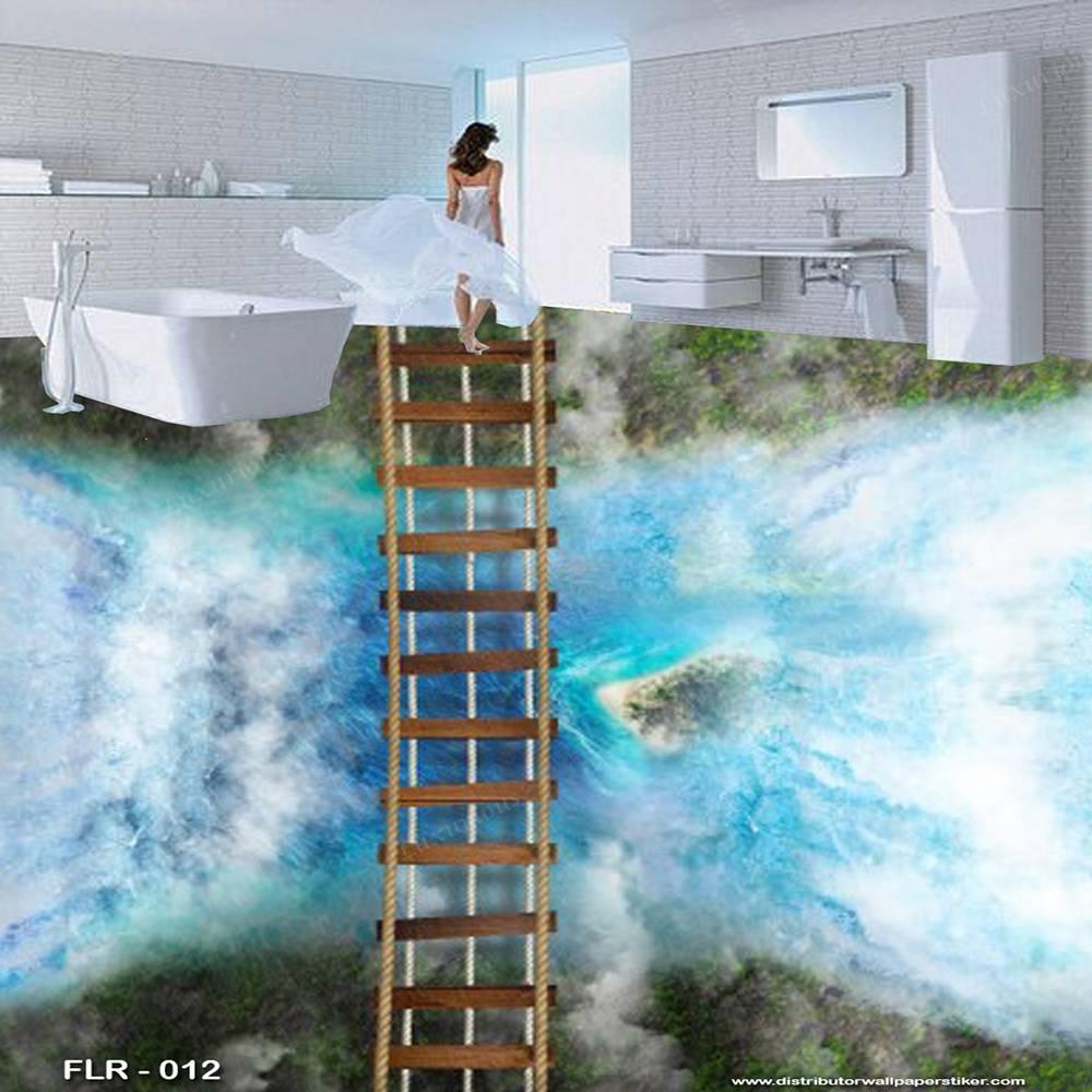 3D Custom Wallpaper Lantai - Motif Jembatan | FLR - 0122