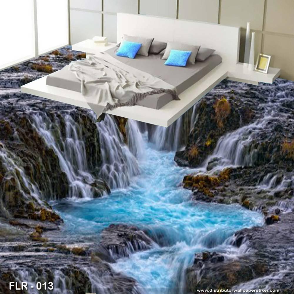 3D Custom Wallpaper Lantai - Motif waterfall | FLR - 0130