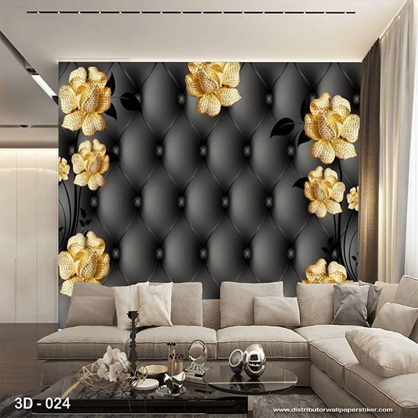 3D Custom Wallpaper Dinding | 3D - 024 Quilted Bunga1