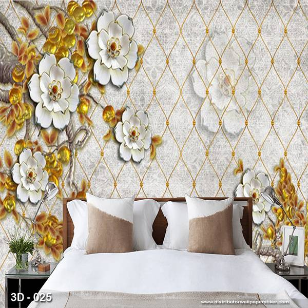 3D Custom Wallpaper Dinding | 3D - 025 Bunga0