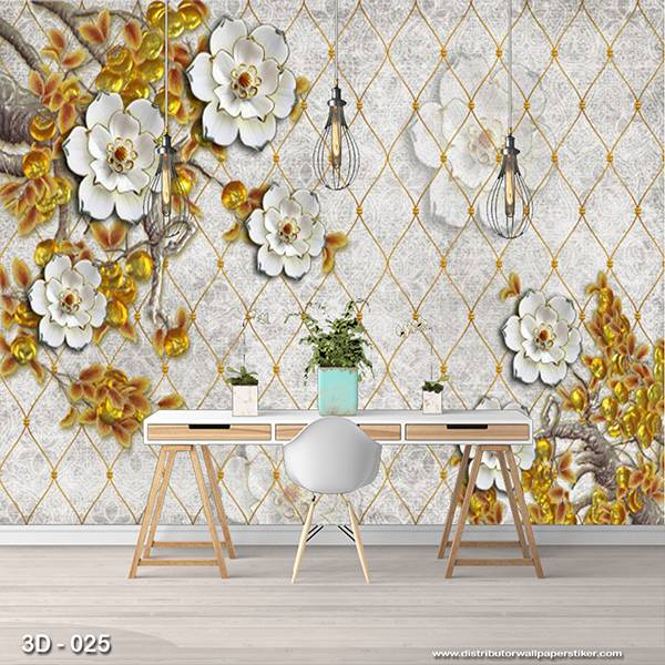 3D Custom Wallpaper Dinding | 3D - 025 Bunga1