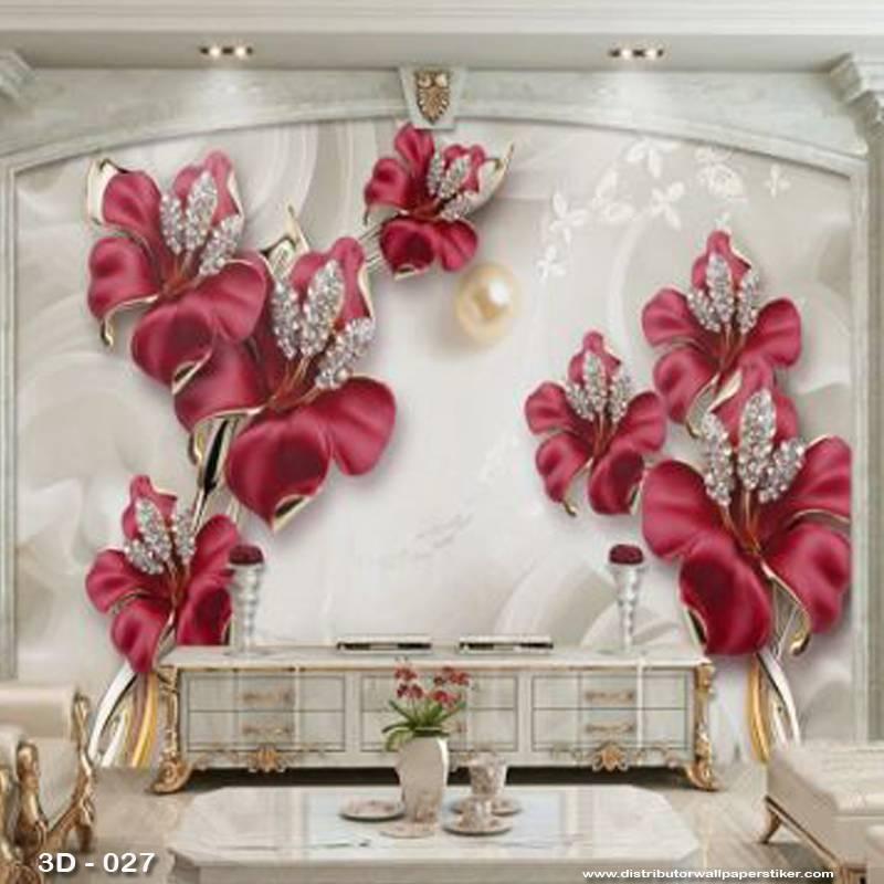 3D Custom Wallpaper Dinding | 3D - 027 Motif 3D Bunga