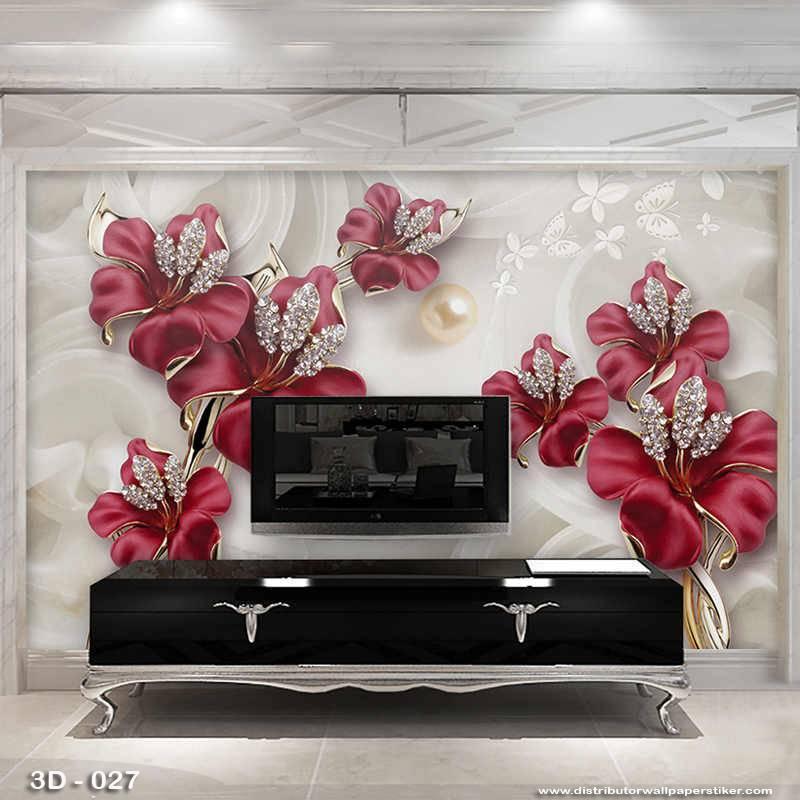 3D Custom Wallpaper Dinding | 3D - 027 Motif 3D Bunga1