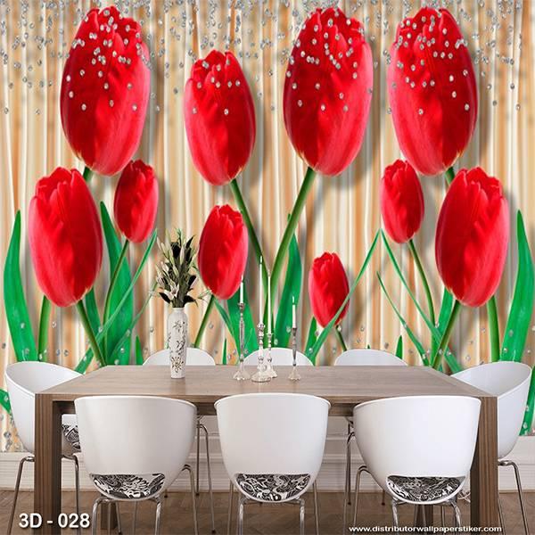 3D Custom Wallpaper Dinding | 3D - 028 Motif 3D Bunga Mwar Merah