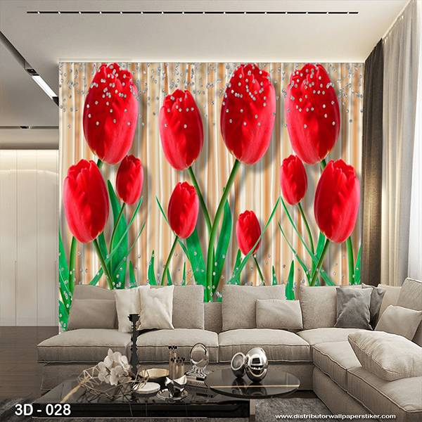 3D Custom Wallpaper Dinding | 3D - 028 Motif 3D Bunga Mwar Merah1
