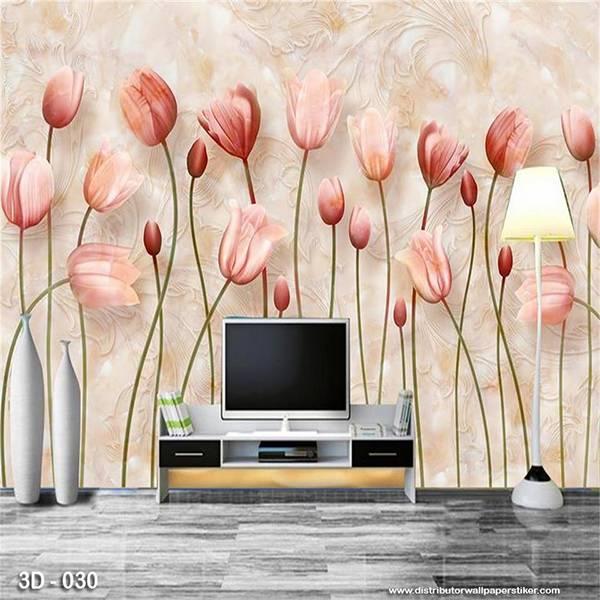3D Custom Wallpaper Dinding | 3D - 030 Motif 3D Bunga Tulip Pink