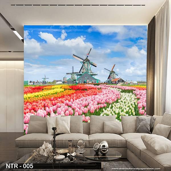 3D Custom Wallpaper Dinding | Wallpaper Pemandangan | Wallpaper Padang Bunga | NTR - 0050