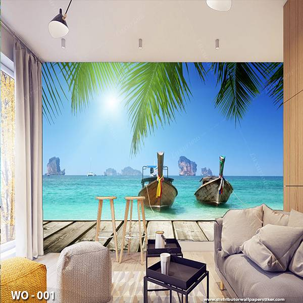 3D Custom Wallpaper Dinding | Wallpaper Pemandangan laut | WO - 0010