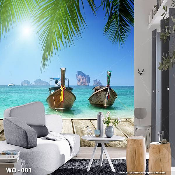 3D Custom Wallpaper Dinding | Wallpaper Pemandangan laut | WO - 0011