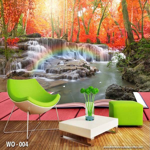 3D Custom Wallpaper Dinding | Wallpaper Pemandangan Air Terjun dr Balkon | WO - 0040