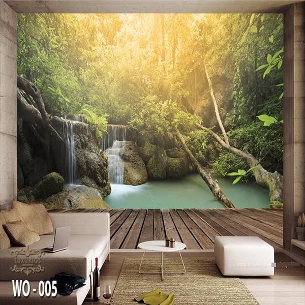 3D Custom Wallpaper Dinding   Wallpaper Pemandangan Air Terjun   WO - 0050