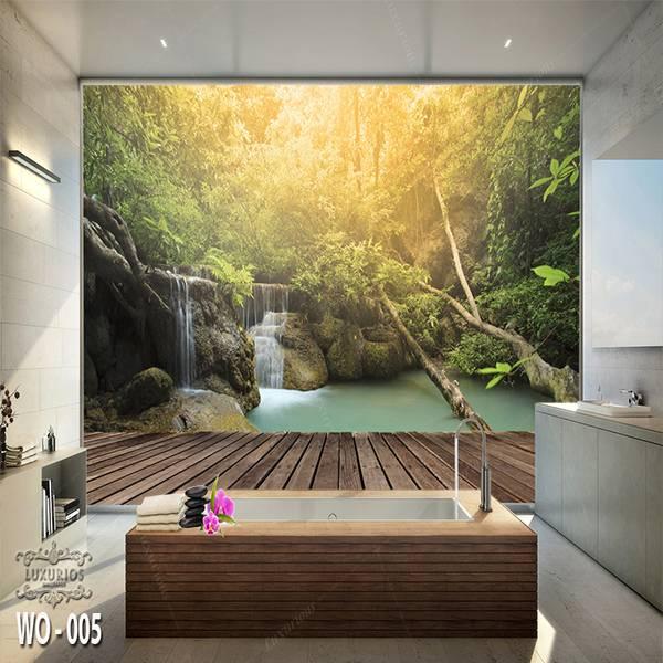 3D Custom Wallpaper Dinding   Wallpaper Pemandangan Air Terjun   WO - 0051
