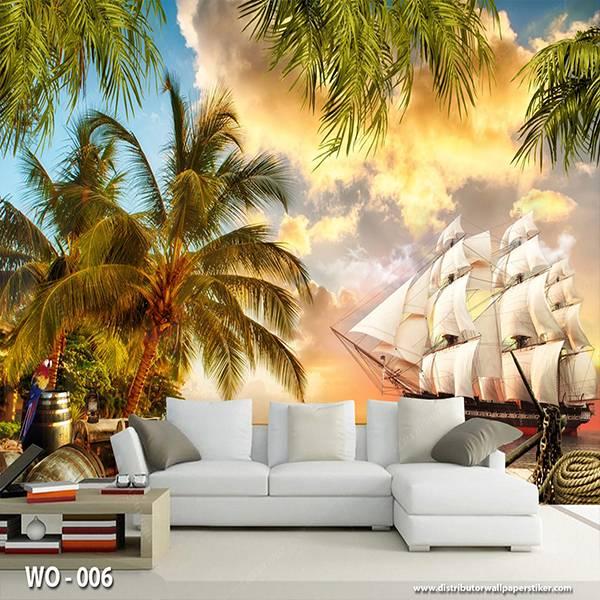 3D Custom Wallpaper Dinding | Wallpaper Pemandangan Fantasy Kapal | WO - 0060