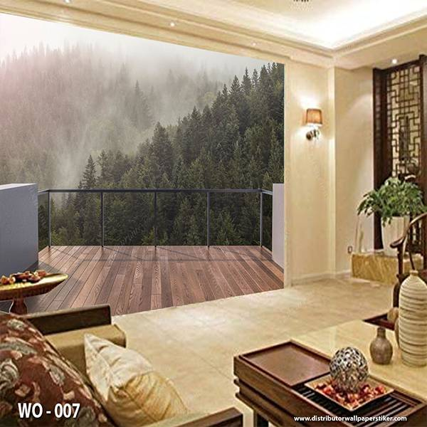 3D Custom Wallpaper Dinding | Wallpaper Pemandangan Bukit dr Balkon | WO - 0070