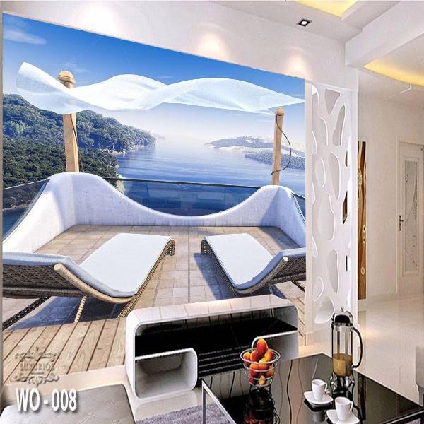 3D Custom Wallpaper Dinding   Wallpaper Pemandangan Laut dr Balkon   WO - 0080