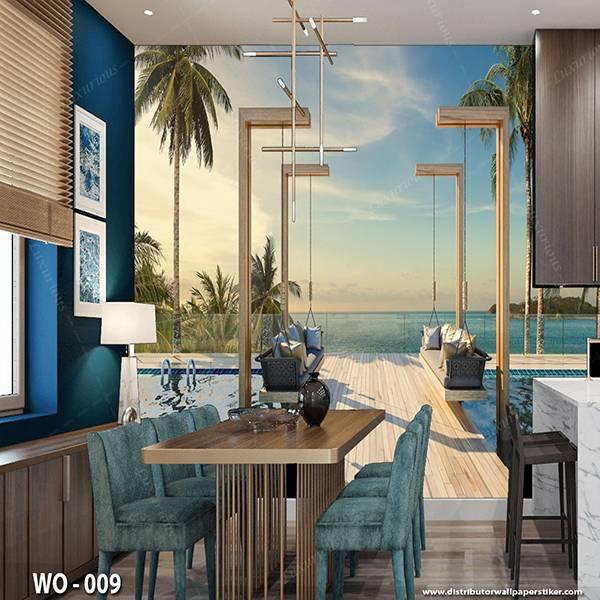 3D Custom Wallpaper Dinding   Wallpaper Pemandangan Pantai   WO - 0091