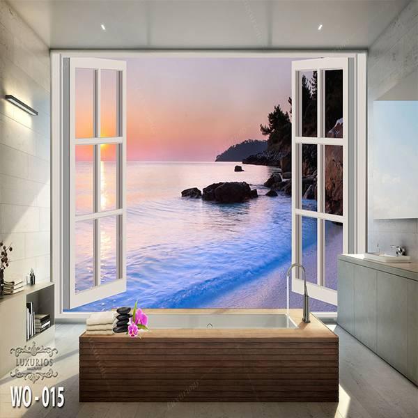 3D Custom Wallpaper Dinding   Wallpaper Pemandangan Pantai dr Jendela   WO - 0150
