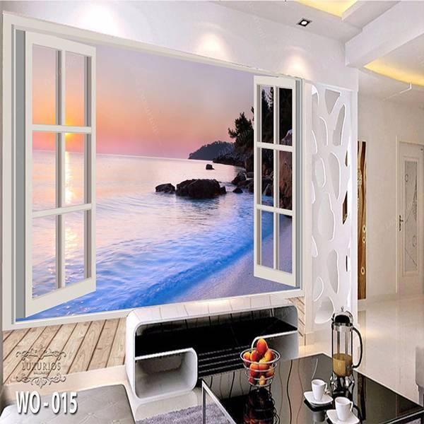 3D Custom Wallpaper Dinding   Wallpaper Pemandangan Pantai dr Jendela   WO - 0151