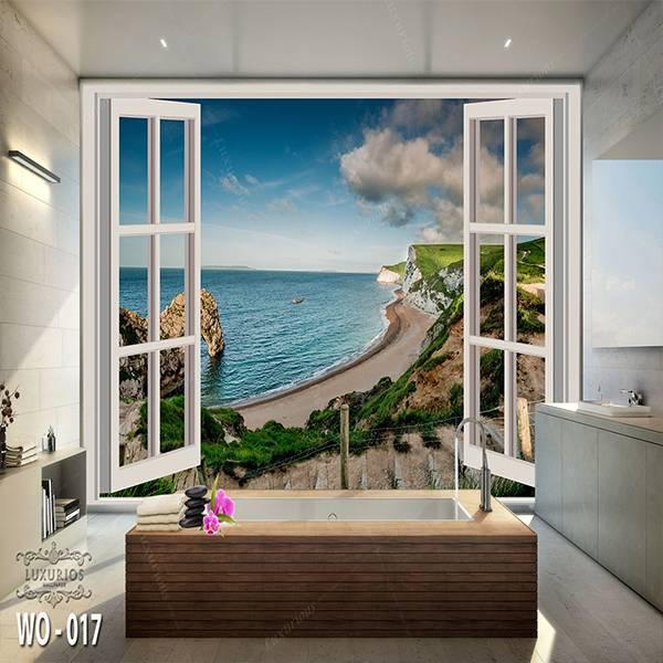 3D Custom Wallpaper Dinding | Wallpaper Pemandangan Pantai dr Jendela | WO - 0170