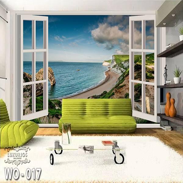 3D Custom Wallpaper Dinding | Wallpaper Pemandangan Pantai dr Jendela | WO - 0171
