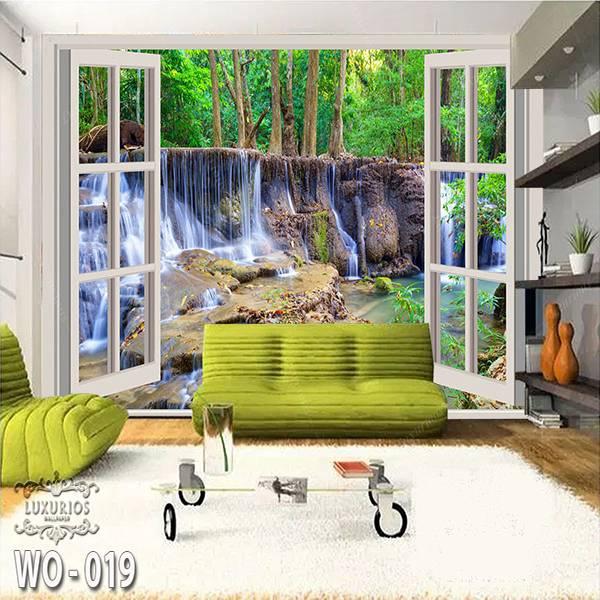 3D Custom Wallpaper Dinding | Wallpaper Pemandangan Air Terjun dr Jendela | WO - 0190