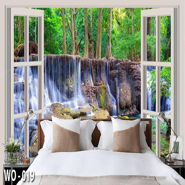 3D Custom Wallpaper Dinding | Wallpaper Pemandangan Air Terjun dr Jendela | WO - 0191