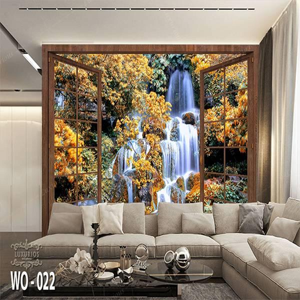 3D Custom Wallpaper Dinding | Wallpaper Pemandangan Air Terjun dr Jendela | WO - 0220