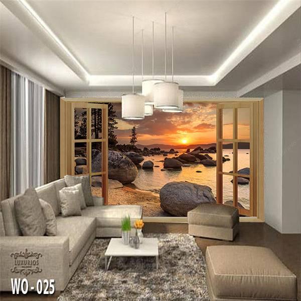 3D Custom Wallpaper Dinding | Wallpaper Pemandangan Pantai dr Jendela | WO - 0250
