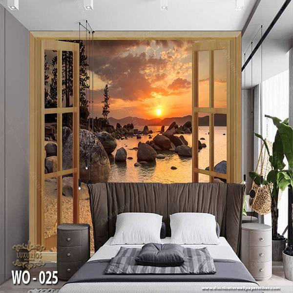 3D Custom Wallpaper Dinding | Wallpaper Pemandangan Pantai dr Jendela | WO - 0251