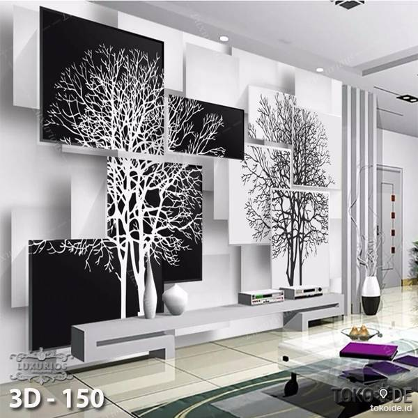 3D Custom Wallpaper Dinding | 3D - 150 Motif Tree black 'n white0