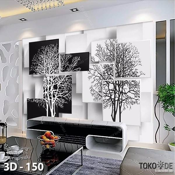 3D Custom Wallpaper Dinding | 3D - 150 Motif Tree black 'n white1