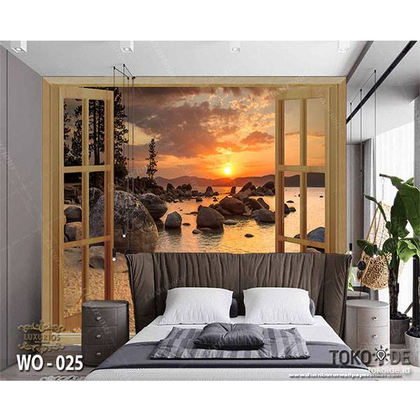 3D WALLPAPER CUSTOM |  Pantai Taman Air Terjun Sunset | Pemandangan Alam Luar Jendela 34