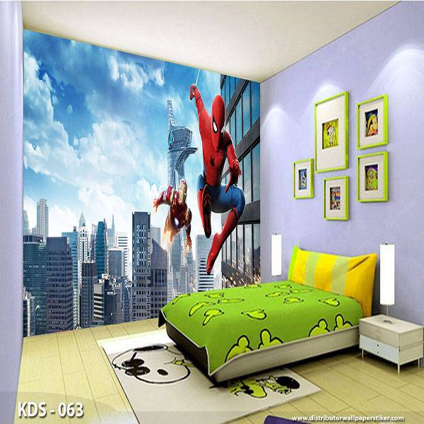 3D Custom Wallpaper Dinding | Motif Spiderman - KDS - 0630