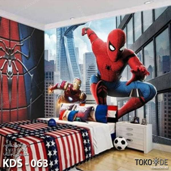 3D Custom Wallpaper Dinding | Motif Spiderman - KDS - 0631