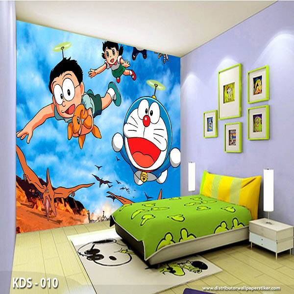 WALLPAPER DINDING ANAK DORAEMON HELLO KITTY (Bahan Flexi / Banner)0
