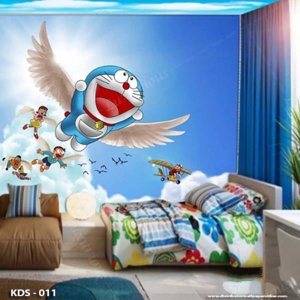 WALLPAPER DINDING ANAK DORAEMON HELLO KITTY (Bahan Flexi / Banner)1